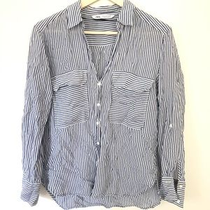 Zara Blue White Stripe Button Down Top